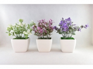 Artificial flower in a pot 17 cm SHEETS  MB-7548