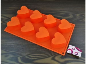 Silicone muffin form 8pcs heart MB-13759