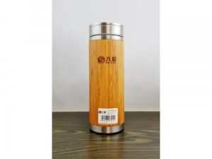 Steel thermos with bamboo 380 ml   SM20
