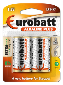 Batteries LR14 Alkaline Plus EUROBATT  LR14-BP2