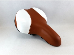 Bicycle saddle, brown - white   MB-7859