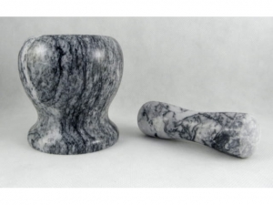 A stone mortar with pestle