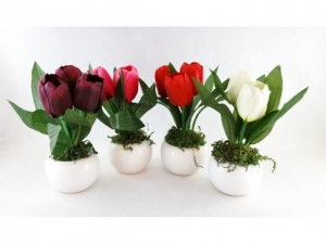 Artificial flower in a pot TULIP 17cm  MB-7554