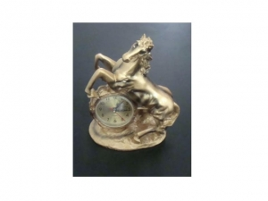 Stylized fireplace clock, HORSE  MB-6959