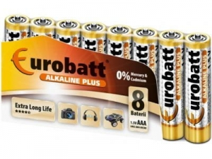Batteries Alkaline Plus AAA 8 pcs EUROBATT  LR03-SP8