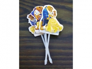 Decoration on a stick BEAUTY AND THE BEAST 4 pieces  DD-42II